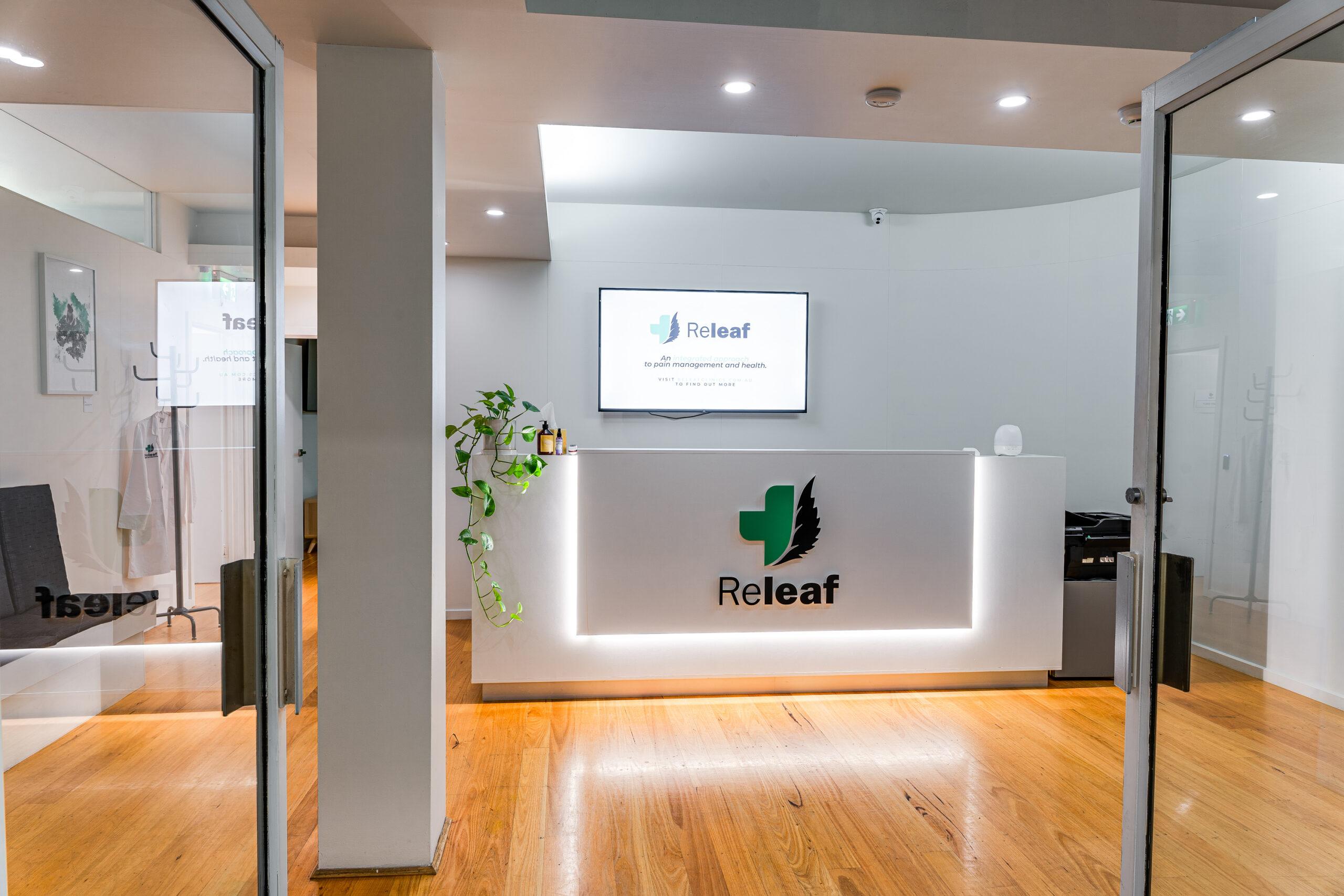 Front desk reception at Releaf Clinics and Dispensaries